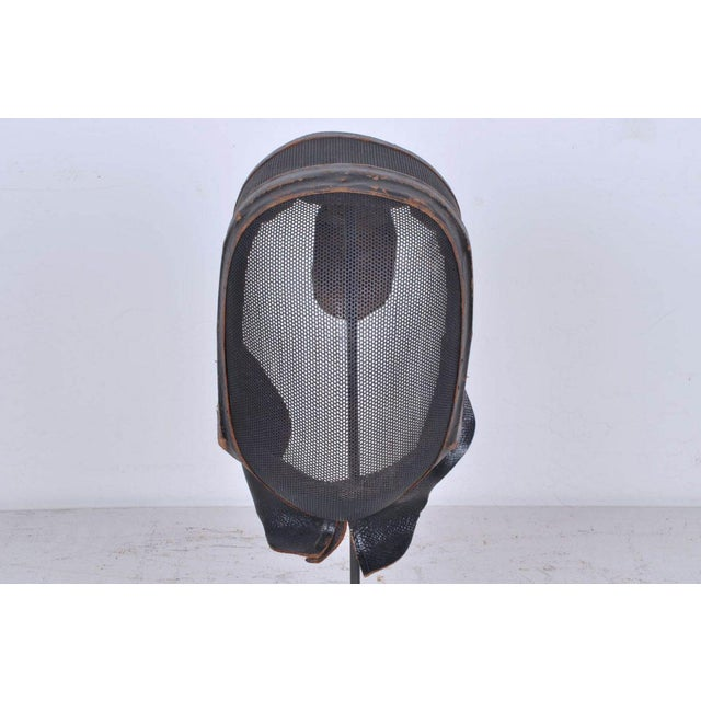 French Antique French Leather and Wire Mesh Fencing Mask on Custom Iron Stand For Sale - Image 3 of 4