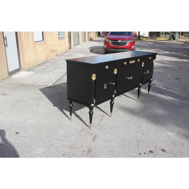 Brass 1920s Long French Empire Style Antique Sideboard or Buffet For Sale - Image 7 of 13