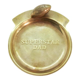 "1950s Americana Men's Brass Valet Tray Featuring a 3-D Football & Embossed ""Superstar Dad"" For Sale"