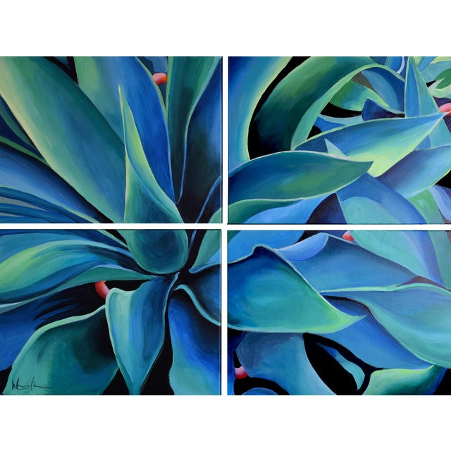 'Silver Blue Agave' Acrylic Painting - Image 9 of 9