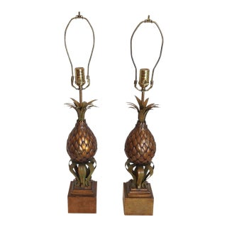 Mid-Century Tole Pineapple Lamps - a Pair For Sale