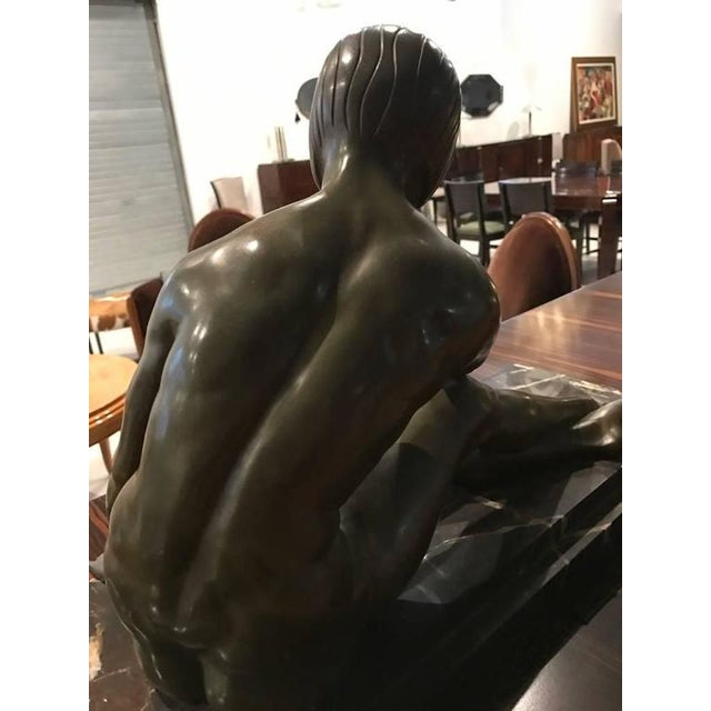 Signed French Art Deco Bronze Sculpture of Nude Seated Female For Sale - Image 9 of 10