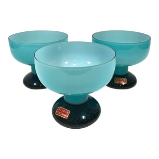Mid 20th Century Blue Opaline Dessert Coupe Bowls - Set of 3 For Sale