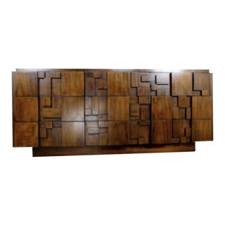1960s Mid Century Modern Oak Brutalist Dresser by Lane Furnture For Sale