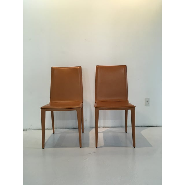 Modern Design Within Reach Leather Bottega Dining Side Chairs- A Pair For Sale - Image 10 of 10