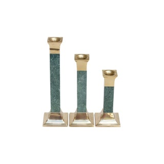Quartz & Brass Candlestick Holders, Set of 3 For Sale