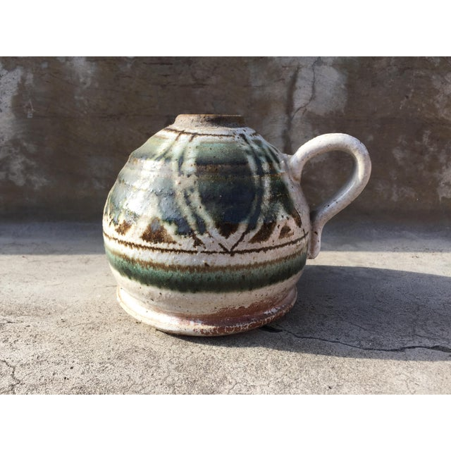 Mid-Century Modern Speckled Salt Glaze Studio Pottery Jug For Sale - Image 3 of 4
