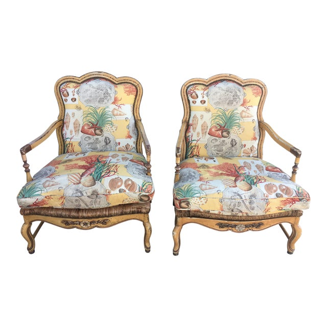 1930s Vintage French Country Armchairs- A Pair | Chairish