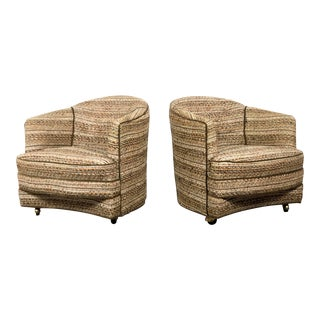 1960s Vintage Curved Barrel Back Lounge Chairs- A Pair For Sale