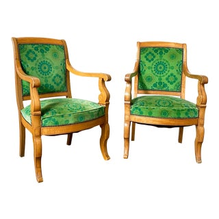 French Charles X Maple Arm Chairs With Jack Lenor Larsen Fabric - a Pair For Sale