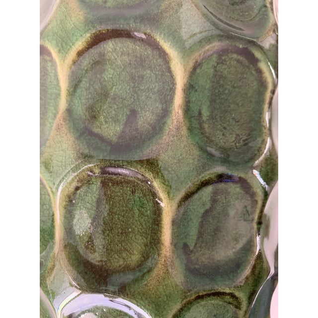 Mid-Century Modern Vintage Mid Century Green Honeycomb Vase For Sale - Image 3 of 7