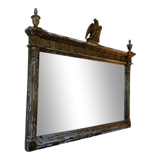 Vintage 1970s Hand-Carved Gold Distressed Mirror For Sale