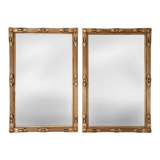 Vintage Giltwood Frame Hanging Wall Mirrors - a Pair For Sale