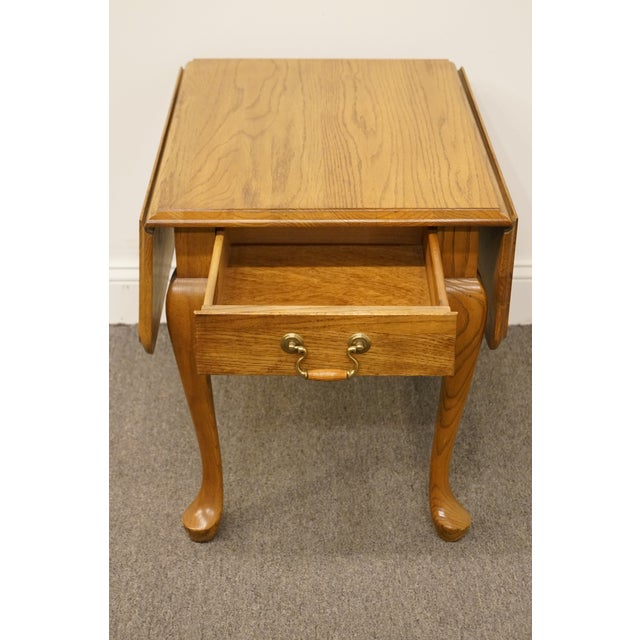 Brown 20th Century French Country Mersman Solid Oak Drop Leaf Accent End Table For Sale - Image 8 of 13