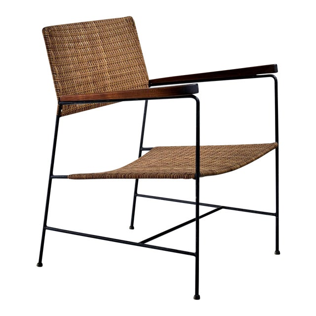 Rare Arden Riddle Armrest Chair in Rattan For Sale