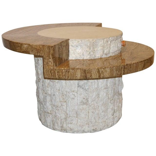 1970s Marzio Cecchi Italian Vintage White and Ochre Stone Round Side/Sofa Table For Sale