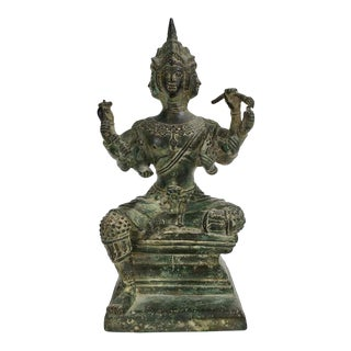 Balinese Brass Brahma Seated on Plinth For Sale