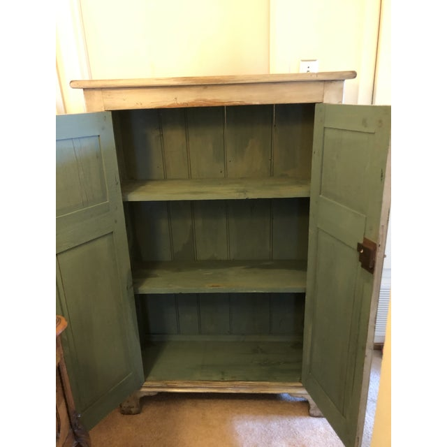 Shabby Chic Antique French Country Painted Cupboard For Sale - Image 3 of 11