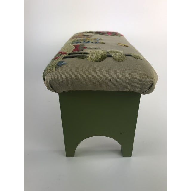 Cotton 1970s Vintage Handmade Embroidered Foot Stool For Sale - Image 7 of 13
