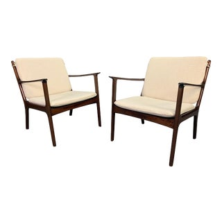 """Vintage Danish Mid Century Modern Mahogany Lounge Chair """"Pj112"""" by Ole Wanscher - a Pair For Sale"""