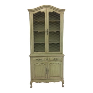 1960s French Provincial Stepback Cupboard With Wire Mesh For Sale