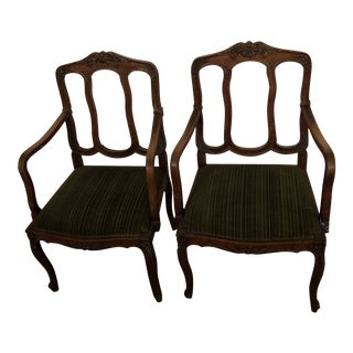 Early 21st Century Original Louis XV Green Velvet Chairs- A Pair For Sale