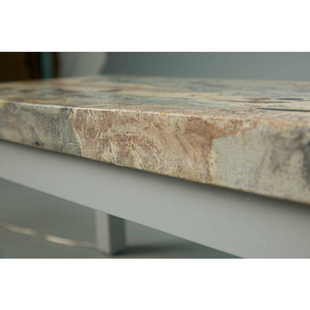 Rose, Pink and Grey Marbleized Concrete Coffee Table, Italy, Circa 1950 For Sale - Image 9 of 11