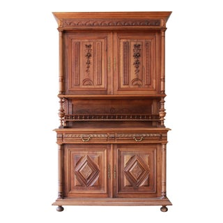 Antique French Renaissance Walnut Sideboard Hutch For Sale