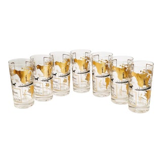 Vintage America North South Exports New Orleans Nola Maps Black & Gold Glasses - Set of 7 For Sale
