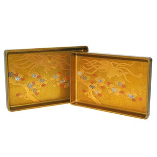 Japanese Meji Lacquer Stacking Trays - A Pair For Sale