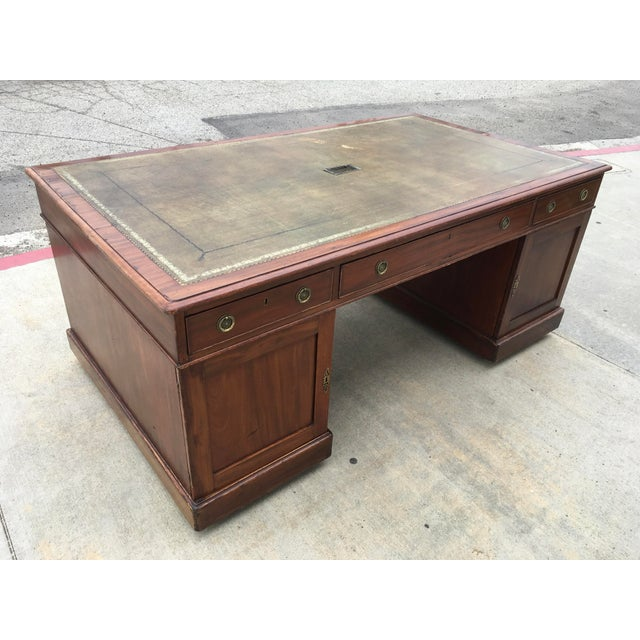 "Gorgeous solid Mahogany partners desk made by famed locksmiths ""Chubb & Son"" who were appointed as the royal locksmiths /..."