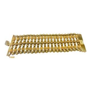 1980s Vintage Monet Wide Gold Bead Bracelet For Sale