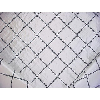 Traditional Kravet Couture 28327 Black & White Silk Lattice Drapery Upholstery Fabric - 16-1/4y For Sale