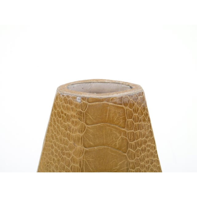 R&Y Augousti vase in beige ostrich leather from Paris, France circa 1980s. Add some killer texture to a petite bunch of...