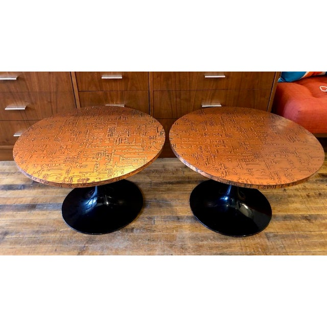 Sharp looking decorator pieces for a bit of glitz in your home. Topes are a textured copper and bases are black painted...