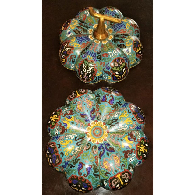 Chinese Cloisonne Pumpkin Lidded Box For Sale - Image 10 of 12
