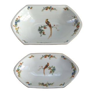 Vintage Birds of Paradise Porcelain Serving Bowls - Set of 2 For Sale