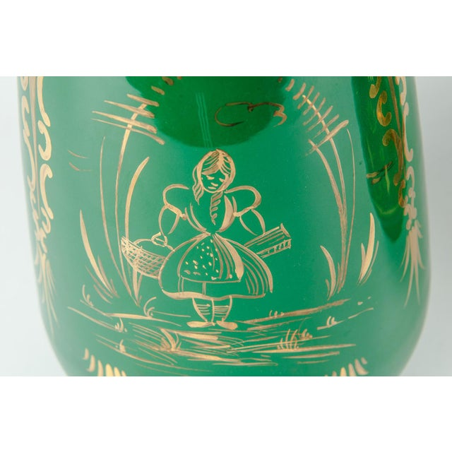 Vintage Italian Green Porcelain Decorative Vases - a Pair For Sale In New York - Image 6 of 11