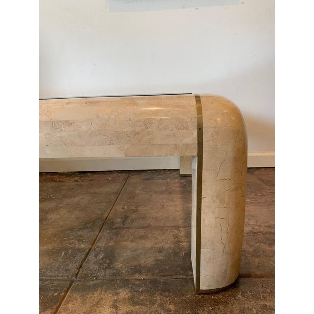 Mid-Century Modern Maitland-Smith RectangleTessellated Stone & Brass Glass Top Coffee Table For Sale - Image 3 of 10
