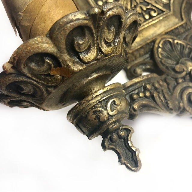 1930s Antique Gothic Victorian Cast Iron Wall Sconce Light For Sale - Image 4 of 8