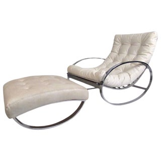 "Vintage Modern Renato Zevi ""Ellipse"" Rocking Chair by Selig For Sale"