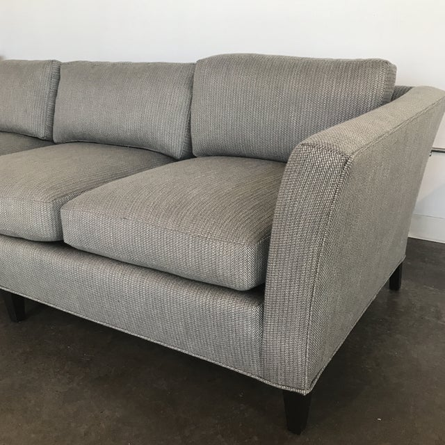 Drexel Heritage 1970's Mid-Century Modern Drexel Heritage Newly Upholstered Gray Sofa For Sale - Image 4 of 6