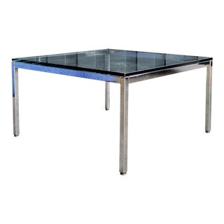 Minimalist Knoll-Style Chrome & Glass Side Table For Sale