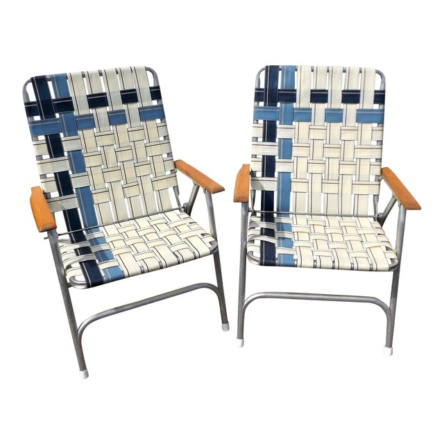 Vintage Aluminum Webbed Folding Lawn or Patio Chairs - A Pair - Image 1 of 9