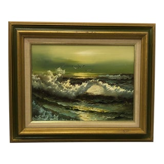 Original Signed Oil Seascape Painting For Sale