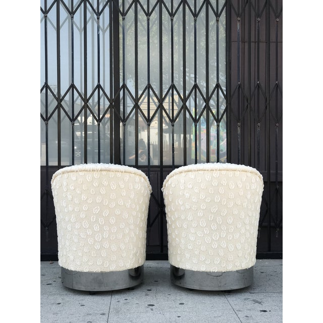 Rolling Chairs With Chrome Base in the Manner of Milo Baughman For Sale - Image 12 of 13