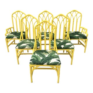 Tropical Banana Leaf Print Bamboo Rattan Dining Chairs by Henry Link - Set of 6