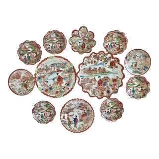 1920's Antique Chinoiserie Hand Painted Traditional Gisha Girl Set of Plates and Small Bowls For Sale