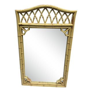 1970's Chinoiserie Style Yellow Lacquered Mirror For Sale