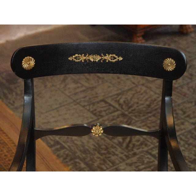 Set of Eight Ebonized Dining Chairs, Regency Style, circa 1920 For Sale - Image 4 of 10